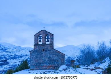 Sant Quirc of Durro Romanesque hermitage, Pyrenees,, Vall de Boi, Lleida, Catalonia, Spain