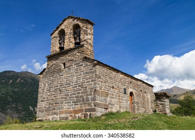 Sant Quirc of Durro, romanesque hermitage in the Pyrenees, Boi Valley, Catalonia.