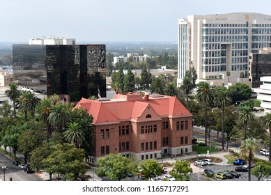 SANTA ANA, CALIFORNIA - AUGUST 27, 2018: The Old Orange County Courthouse. The Ronald Reagan Federal building is in the right background.
