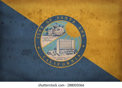 Santa Ana ,California flag on fabric texture,retro vintage style