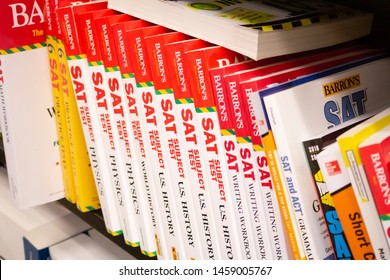 Santa Ana, California/United States - 06/08/19: At this bookstore, there are several books to help you prepare for the SAT tests