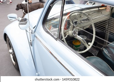 Santa Ana, California/United States - 06/08/19: Looking at the drive side of a vintage Volkswagen Beetle at a car show