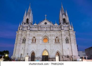 Santa Ana Cathedral at night. Santa Ana, El Salvador.