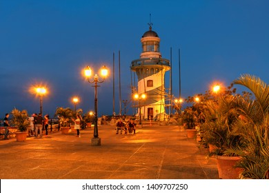 Santa Ana Lighthouse on Santa Ana Hill at sunset in Guayaquil, Ecuador.