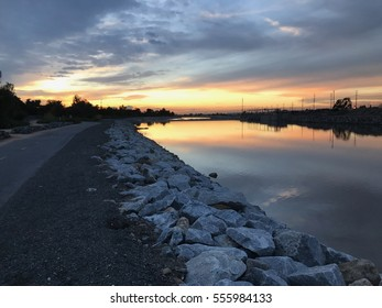 The Santa Ana river trail in the evening.