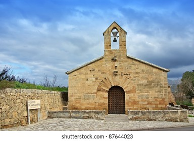 Santa Anna ancient church in Alcudia (Majorca - Spain) near the cemetery