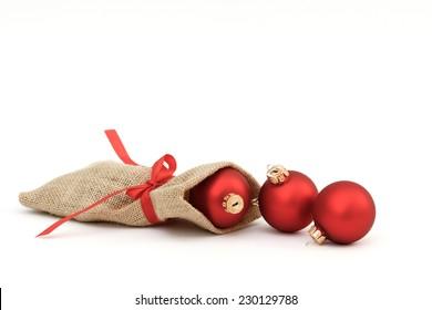 Santa bag with xmas balls