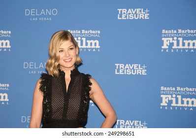 SANTA BARBARA, CA - February 01, 2015: Actress Rosamund Pike attends the 30th Santa Barbara International Film Festival to receive the Virtuosos Award  #SBIFF