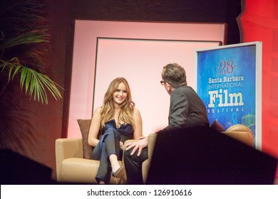 SANTA BARBARA, CA -FEBRUARY 02: Jennifer Lawrence smiles during her interview at the 28th Santa Barbara International Film Festival in Santa Barbara CA on February 02 2013.
