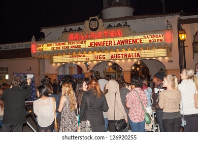 SANTA BARBARA, CA - FEBRUARY 02: Fans converge on the Arlington Theater to see Jennifer Lawrence at the 28th Santa Barbara International Film Festival in Santa Barbara, CA on February 02, 2013.
