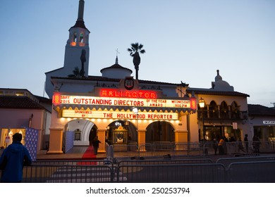 SANTA BARBARA, CA - February 04, 2015: The Arlington Theater prepares for the 30th Santa Barbara International Film Festival Outstanding Directors Award program #SBIFF