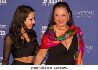 SANTA BARBARA, CA - February 05, 2015: Actress Paola Baldion and Director Florence Jaugey of the movie La Pantalla Desnuda on the Red Carpet at the 30th Santa Barbara International Film Festival.