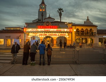 SANTA BARBARA, CA - February 05, 2015: Onlookers await the American Riviera Award presentation outside the Arlington Theater at the 30th Santa Barbara International Film Festival #SBIFF