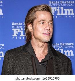 Santa Barbara, CA - Jan 22, 2020: Brad Pitt attends the 35th Annual Santa Barbara International Film Festival, Maltin Modern Master Award at Arlington Theatre