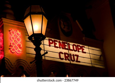 SANTA BARBARA, CA - JAN. 24: The marquee of the Arlington Theater for the presentation of the Chopin Performer of the Year Award to Penelope Cruz at the Santa Barbara Film Festival, Jan.24, 2009.