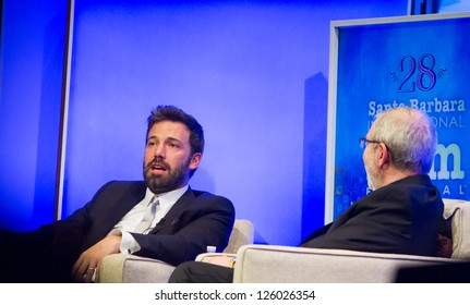 SANTA BARBARA, CA - JANUARY 25: Leonard Maltin interviews Ben Affleck on stage, at the 28th Santa Barbara International Film Festival in Santa Barbara, CA on January 25, 2013.