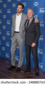 SANTA BARBARA, CA - JANUARY 31, 2015: Songwriter Sean Douglas and Actor Michael Keaton attend the 30th Santa Barbara International Film Festival; Keaton will receive the Modern Master Award #SBIFF