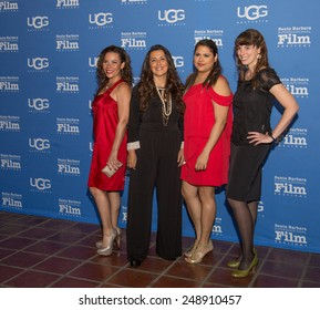 SANTA BARBARA, CA - JANUARY 31, 2015: Marabina Jaimes, Ivette Gonzalez, Natasha Perez, and Andrea Meller of Now en  Español attend the 30th Santa Barbara International Film Festival  #SBIFF
