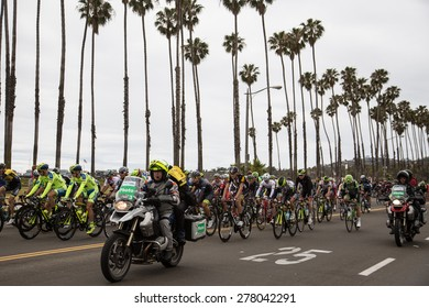 SANTA BARBARA, CA - May 14, 2015: Led by the photo motorcycles, over 130 riders start stage 5 of the Amgen Tour of California in Santa Barbara, California