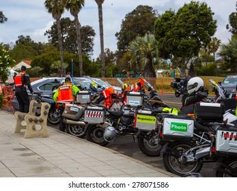 SANTA BARBARA, CA - May 14, 2015: Race officials prepare before the start of stage 5 of the Amgen Tour of California in Santa Barbara, CA.
