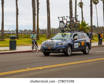 SANTA BARBARA, CA - May 14, 2015: A team car with extra bicycles trails the riders after the start of stage 5 of the Amgen Tour of California in Santa Barbara, CA.