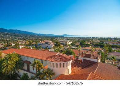 Santa Barbara, Califoania - Court House Buildings, Orange Roofs and Pacific Ocean