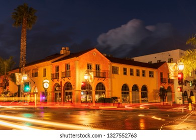 SANTA BARBARA, CALIFORNIA - FEBRUARY 1, 2019: Night view of a small resort town on the Pacific ocean coast