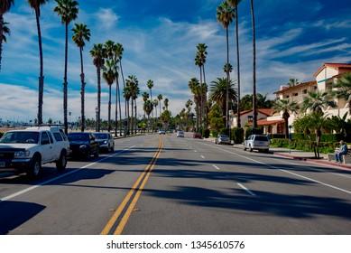 Santa Barbara, California - January 25 2019: panorama of the city of Santa Barbara in California, famous luxury resort on the Pacific coast