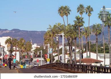 Santa Barbara, California - Nov, 6, 2020: Looking up State Street from Cabrillo and Stearns Wharf in Santa Barbara, California.