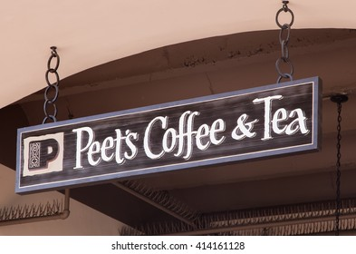 SANTA BARBARA, CA/USA - APRIL 30, 2016: Peet's Coffee and Tea exterior and sign. Peet's Coffee is a San Francisco Bay Area based specialty coffee roaster and retailer.