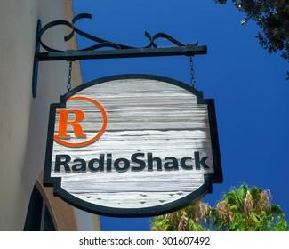 SANTA BARBARA, CA/USA - JULY 26, 2015: RadioShack retail store exterior. RadioShack Corporation is an American franchise of electronics retail stores.