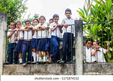 SANTA BARBARA DEPARTMENT, HONDURAS - APRIL 19, 2016: Children in school uniforms in a small village in Santa Barbara department of Honduras.