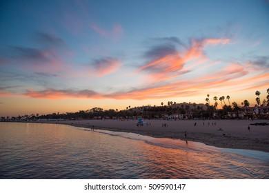 Santa Barbara Pier, California, USA at Sunset