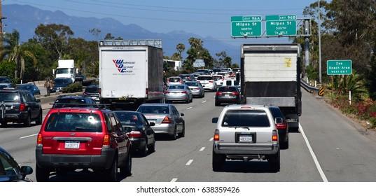 Santa Barbara, USA - july 15 2016 : the road between Santa Barbara ans Santa Monica
