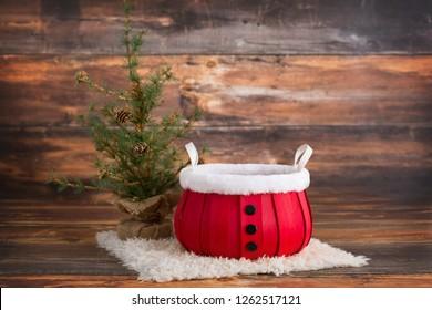Santa bucket newborn digital background on white fur with a wood background