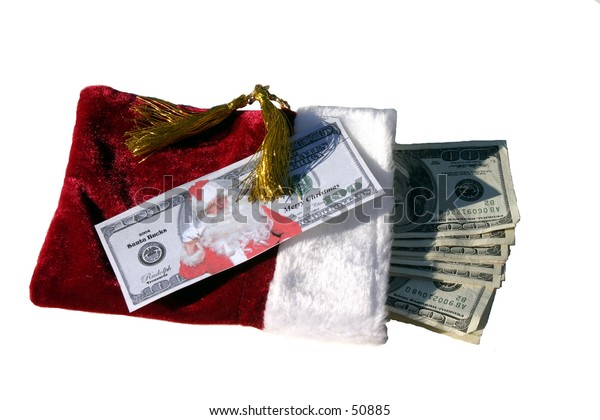 Santa Bucks on top of a red gift bag stuffed with MONEY!!!!!!!!!!!