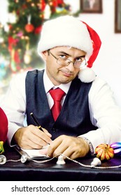 Santa business man. Christmas and new year holidays.