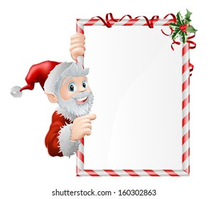 Santa cartoon Xmas sign graphic with Santa Claus pointing at the sign decorated with holly