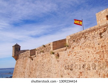 Santa Bárbara Castle which is a fortification and stands on Mount Benacantil in the center of Alicante, Spain.