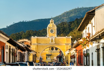 The Santa Catalina Arch and Agua Voclano in Antigua Guatemala, Guatemala