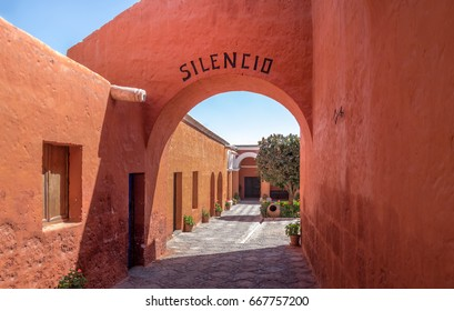 Santa Catalina Monastery with the word SILENCE written on the arch - Arequipa, Peru
