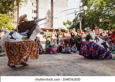Florianópolis, Santa Catarina / Brazil -  June 23, 2012: 'Boi-de-mamão' cultural presentation at 'Palácio Cruz e Souza'. Azorean traditional manifestation.