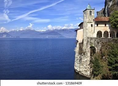 Santa Caterina del Sasso famous Hermitage on Lake Maggiore, Varese, Italy