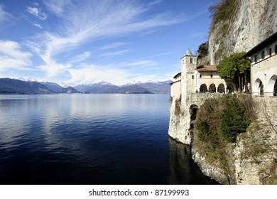 Santa Caterina del Sasso famous Hermitage on Lake Maggiore in Italy