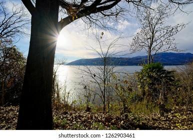 Santa Caterina del sasso hermitage, Lake Maggiore. Italy