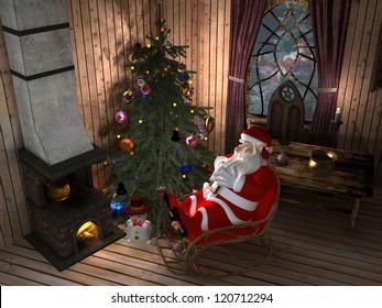 Santa in a chair near the Christmas tree.