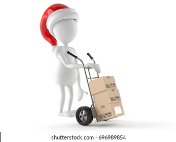 Santa character with hand truck isolated on white background. 3d illustration
