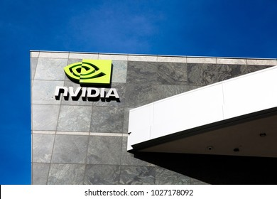 Santa Clara, CA - Feb. 1, 2018: NVIDIA Corp., leader of Artificial Intelligence Computing, inventor of the GPU, Tesla, Quadro, GeForce Graphics cards, 3D Gaming, 3D Vision. Building closeup with logo