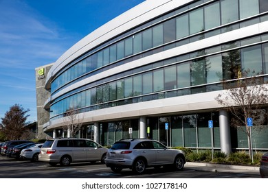 Santa Clara, CA - Feb. 1, 2018: NVIDIA Corp., leader of Artificial Intelligence Computing, inventor of the GPU, Tesla, Quadro, GeForce Graphics cards, 3D Gaming, 3D Vision. Building closeup and logo