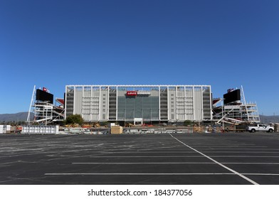 SANTA CLARA, CA - MARCH 18: Construction workers put the finishing touches on Levi�s Stadium on March 18, 2014. The stadium will be the new home of the San Francisco 49ers starting in the 2014 season.